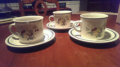 Royal Doulton Cornwall LS1015 Lambeth Ware Set of 3 Cups and Saucers