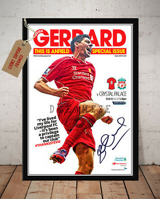 Steven Gerrard Liverpool Fc Last Home Game 2015 Autographed Signed Photo Print