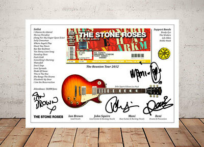 Ian Brown Stone Roses Reunion 2012 Ticket Stub Autographed Signed Photo Print
