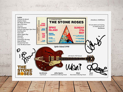 Ian Brown Stone Roses Spike Island 1990 Concert Ticket Stub Signed Photo
