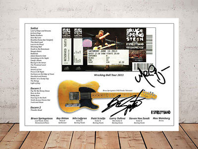 Bruce Springsteen Wrecking Ball 2013 Ticket Stub Autographed Signed Photo Print