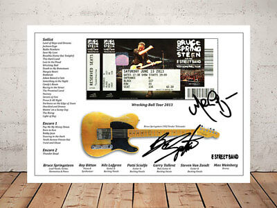 Bruce Springsteen Wrecking Ball Tour 2013 Concert Ticket Stub Signed Photo Print