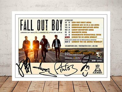 Fall Out Boy American Beauty Tour 2015 Concert Flyer Autographed Photo
