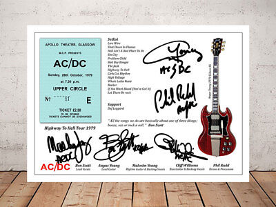 Bon Scott Acdc Highway To Hell Tour 1979 Ticket Stub Signed Photo Print