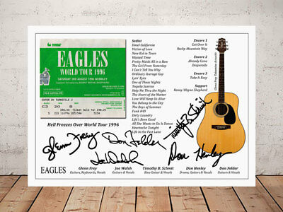 Eagles Hell Freezes Over 1996 Ticket Stub Autographed Signed Photo Print