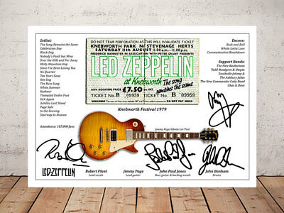 Robert Plant Led Zeppelin Knebworth 1979 Ticket Stub Signed Photo Print
