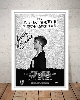 Justin Bieber Purpose 2016 Concert Tour Flyer Autographed Signed Photo Print