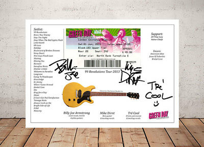 Green Day 99 Revolutions Ticket Stub 2013 Autographed Signed Photo Print