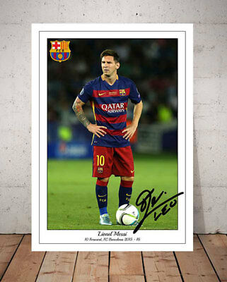 Lionel Messi Fc Barcelona Autographed Signed Photo Print
