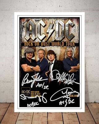 Acdc Angus Acdc Young Rock Or Bust Concert Flyer 2015 Autograph Photo Print