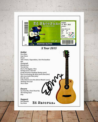Ed Sheeran X Tour 2015 Ticket Stub Autographed Signed Photo Print
