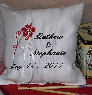 Personalized  White Wedding Ring Bearer Pillow with Flower Design Wedding Gift