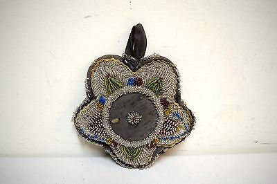 Antique Vintage Native American Beadwork IROQUOIS Indian Beaded Pin Cushion Star