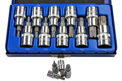 "Bergen 10pc 1/2"" Drive Male Torx Trx-Star BIT SOCKET SET T20-T70 55mm(L) B1128"