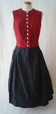 Vintage 80s German victorian steampunk style red checked dress Size 12