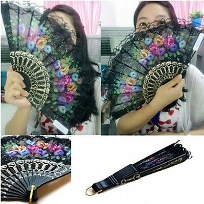 Vintage Spanish Flower Lace Folding Hand Dancing Wedding Party Decor Fan Gift