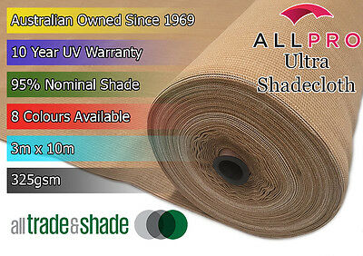 Architectural Ultra 95 Shade Cloth/Shadecloth 3Mx10M - 8 Vibrant Colours 325GSM