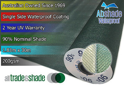 Waterproof Shade Cloth 1.83M x 30M Roll 90% Shade Factor in Green