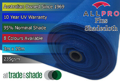 Architectural Plus 95% Shade Cloth/Shadecloth 3Mx20M in 8 Vibrant Colours 235GSM