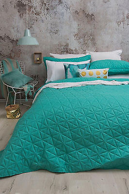 Regent Turquoise Embossed Coverlet Set By Bambury | fits Queen or King