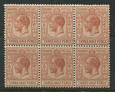 Bahamas 1934 1 1/2d fawn in a mint block of 6 of which 5 are unmounted mint NH