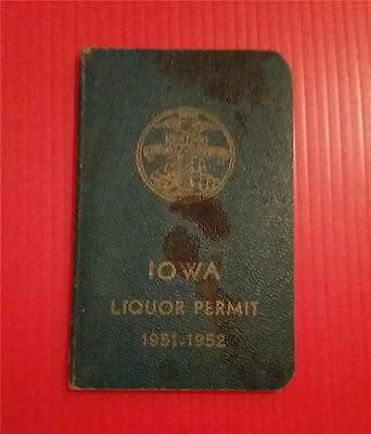 """Rare Vintage """"1951 Iowa State Individual Liquor Permit Offical Booklet"""""""