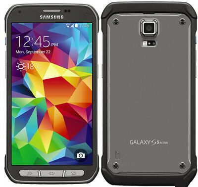"""5.1"""" Samsung Galaxy S5 Active SM-G870A 4G 16GB 16MP GSM AT&T Smartphone Grey"""