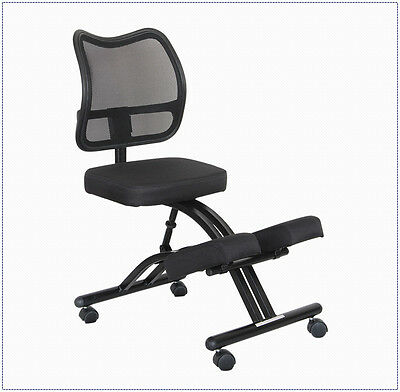 Ergonomic Curved Mesh Back Black Fabric Seat Mobile Office Knee Kneeling Chair
