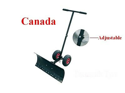 Hand Snow Shovel Thrower Plow Removal Pusher Strip Wheel Clean Tool