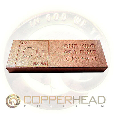 1 Kilo (2.2 lb) Element Copper Bar 36 oz .999 Fine Bullion Ingot 5-10-20