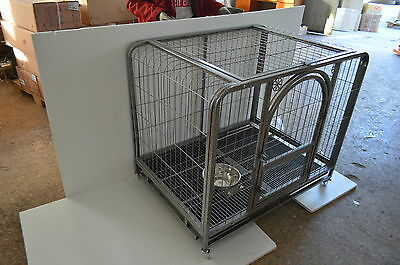 44'' Professional Mobile Metal Wire Large Dog Cage Folding Pet Crate Shipped CA
