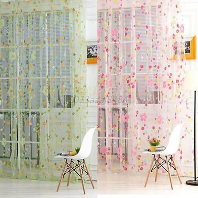 Floral Sheer Curtain Panel Window Balcony Tulle Room Divider Scarf Curtain Decor