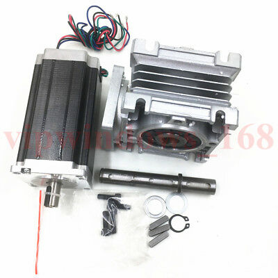 Nema23 3Nm L112mm Stepper Motor & Worm Gearbox Reducer 7.5:1 10:1 15:1 20:1 30:1