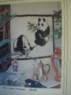 Rumpelstiltskin's Tuft Hooking Giant Pandas Rug, Wall Hanging 28 x 38 Inches