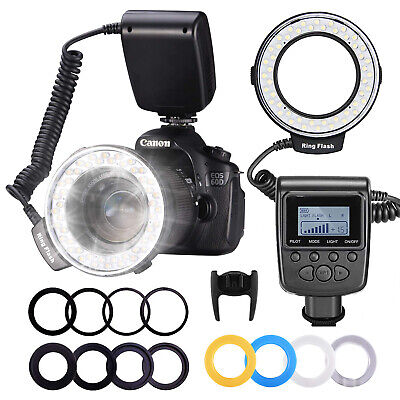 Neewer RF-550D LCD Display LED Macro Ring Flash w/ Adapter Rings for Nikon Canon