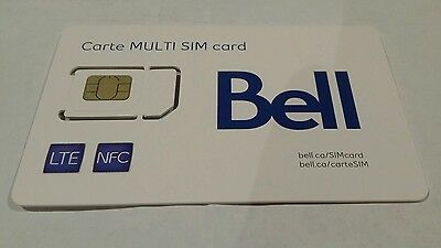 Bell 3 in 1 Sim Card 3G 4G LTE Canada Travel Nano Micro Regular