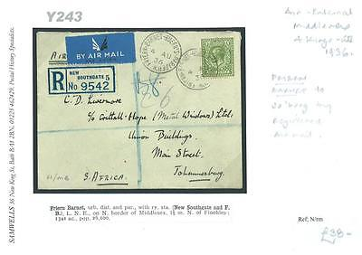 DBY243 1936 GB Middx Friern Barnet Air External KGV Regd./SOUTH AFRICA Johannes