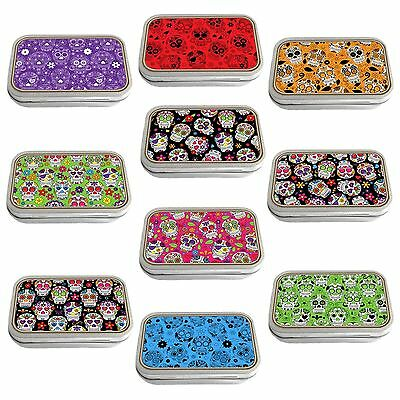 Day of the Dead Slim Hinged 1oz Tin Tobacco Storage Choose Your Design