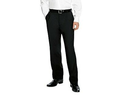 "Simon Jersey Black Mens Flat Front Office Trouser 26"" 50"" Smart Formal Mt0640"