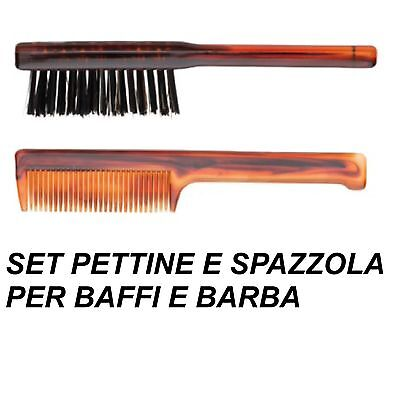 SET PETTINE E SPAZZOLA PER BAFFI E BARBA Made in Italy beard moustache brush