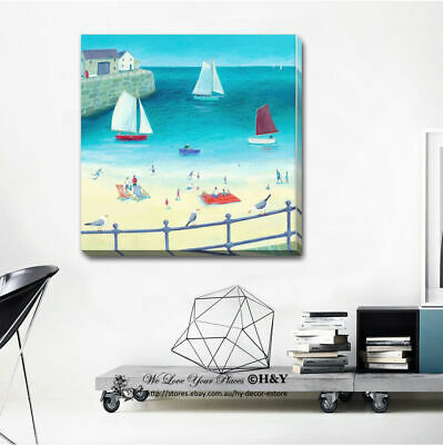 Beach sailboat stretched canvas print framed wall art home for Room decor 6d