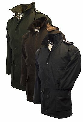 Walker & Hawkes Padded Wax Jacket COTTON Waxed Coat XS-5XL Olive Navy Brown