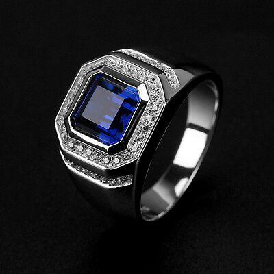 Brand Fashion Men 2ct Sapphire CZ 925 Silver Engagement Wedding Band Finger Ring