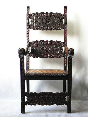 A Rare  Mid 19th Century Spanish Colonial Revival Carved Throne Chair