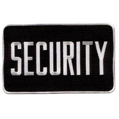 MEDIUM SECURITY PATCH BADGE EMBLEM  5 inches x 7 1/2 inches WHITE/BLACK