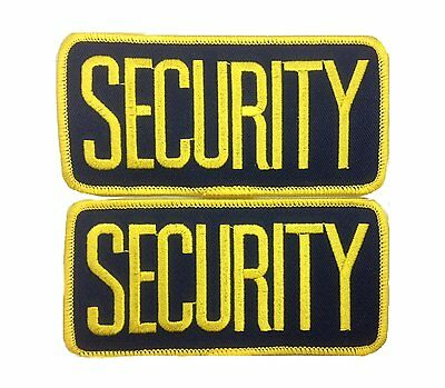 2 SMALL SECURITY PATCHES/ BADGE EMBLEM  4 1/4 inches x 2 inches GOLD / NAVY
