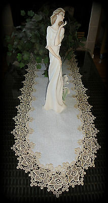 "Rose Lace Table Runner Dresser Scarf 54"" Soft Gold White Doily"