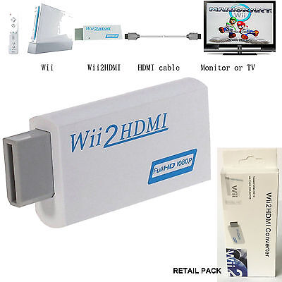WII TO HDMI WII2HDMI FULL HD 1080P CONVERTER ADAPTER ADAPTOR 3.5mm AUDIO SUPPORT