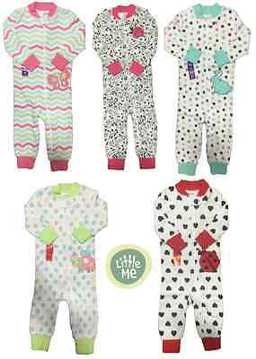 NEW Little Me Girl's Full Zip One (1) Piece Sleeper Sleepwear VARIETY