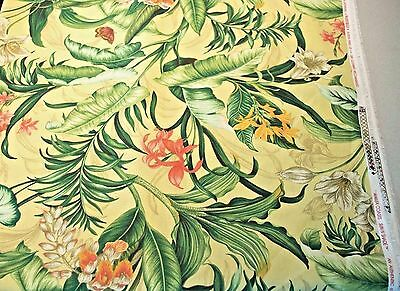 Yellow Tropical Print Upholstery Fabric 1 5 Yd 54 Width Waverly